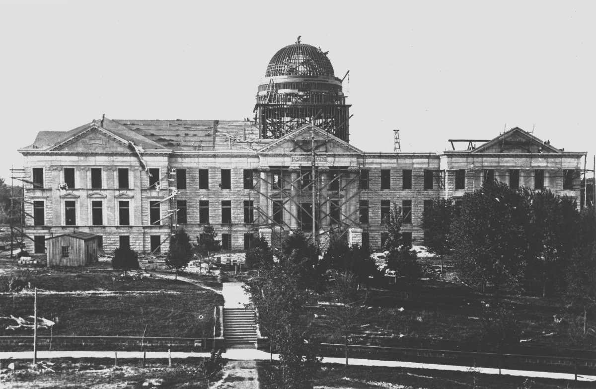 Photo of Academic Hall under construction in 1905